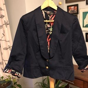 Navy Blazer with Bird of Paradise Lining